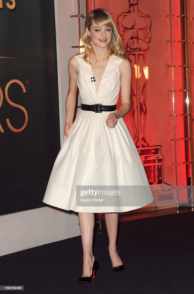 Actress <a gi-track='captionPersonalityLinkClicked' href=/galleries/search?phrase=Emma+Stone&family=editorial&specificpeople=672023 ng-click='$event.stopPropagation()'>Emma Stone</a> attends the 85th Academy Awards Nominations Announcement at the AMPAS Samuel Goldwyn Theater on January 10, 2013 in Beverly Hills, California.