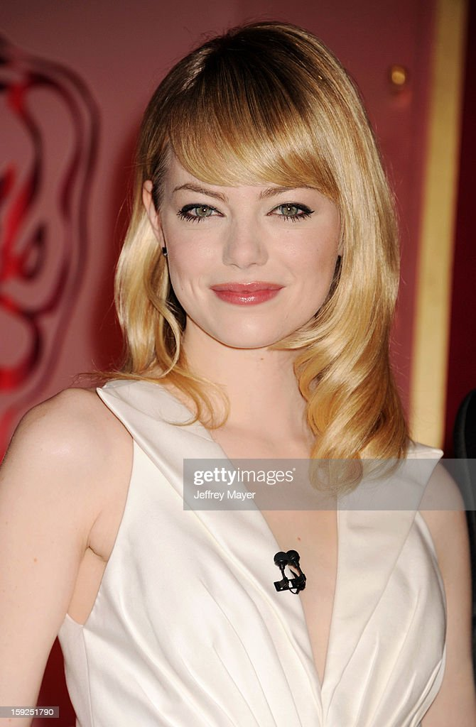 Actress <a gi-track='captionPersonalityLinkClicked' href=/galleries/search?phrase=Emma+Stone&family=editorial&specificpeople=672023 ng-click='$event.stopPropagation()'>Emma Stone</a> attends The 85th Academy Awards Nominations Announcement held at AMPAS Samuel Goldwyn Theater on January 10, 2013 in Beverly Hills, California.