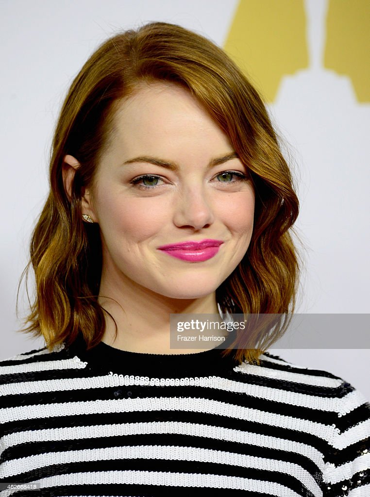 Actress <a gi-track='captionPersonalityLinkClicked' href=/galleries/search?phrase=Emma+Stone&family=editorial&specificpeople=672023 ng-click='$event.stopPropagation()'>Emma Stone</a> attends the 87th Annual Academy Awards Nominee Luncheon at The Beverly Hilton Hotel on February 2, 2015 in Beverly Hills, California.