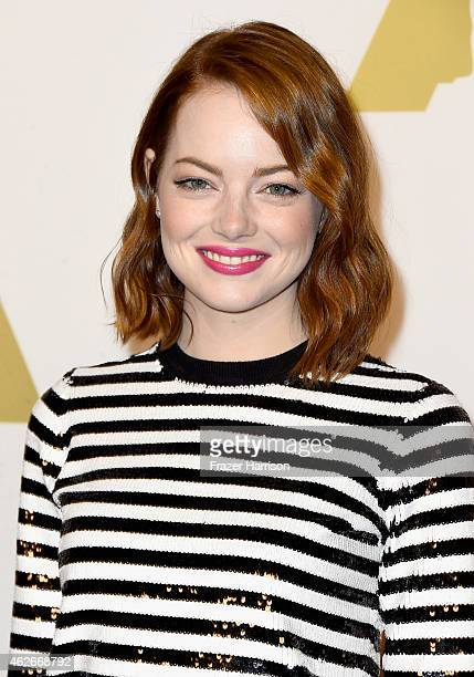 Actress Emma Stone attends the 87th Annual Academy Awards Nominee Luncheon at The Beverly Hilton Hotel on February 2 2015 in Beverly Hills California