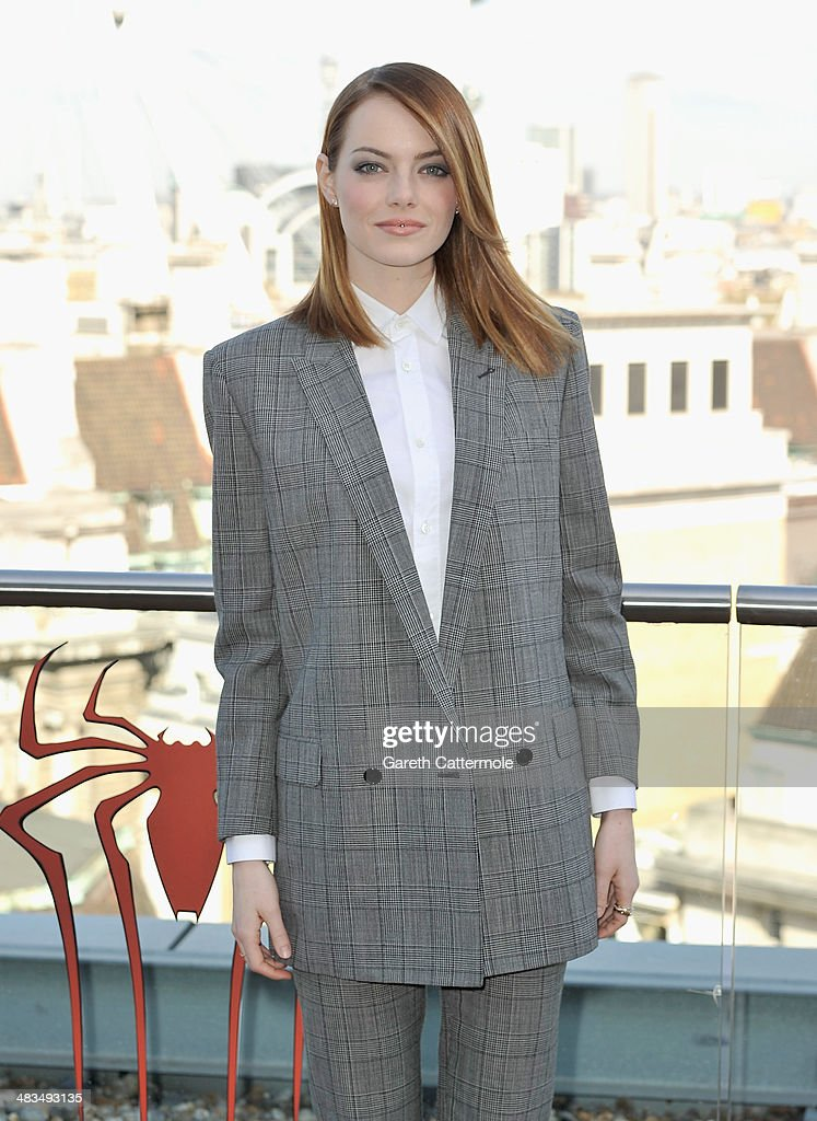 Actress Emma Stone attends the Amazing Spider-Man 2 Cast and Filmmaker photocall at the Park Plaza Hotel on April 9, 2014 in London, England.
