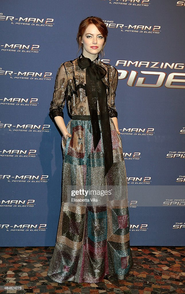 Actress Emma Stone attends 'The Amazing Spider-Man 2: Rise Of Electro' Rome Premiere at The Space Moderno Cinema on April 14, 2014 in Rome, Italy.