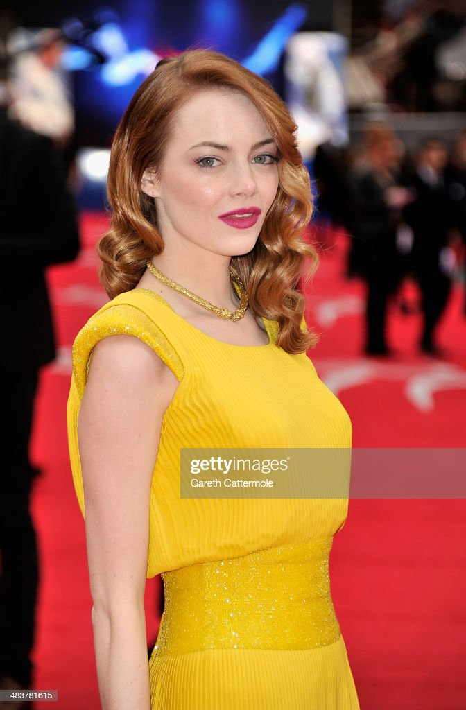 Actress Emma Stone attends 'The Amazing Spider-Man 2' world premiere at the Odeon Leicester Square on April 10, 2014 in London, England.