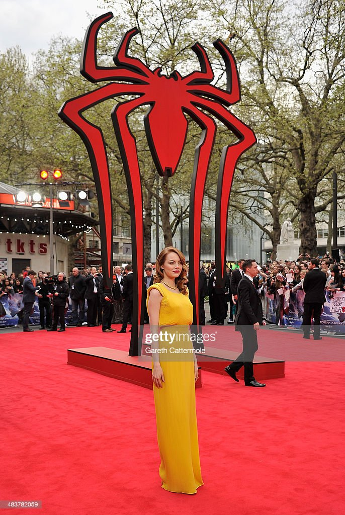 Actress <a gi-track='captionPersonalityLinkClicked' href=/galleries/search?phrase=Emma+Stone&family=editorial&specificpeople=672023 ng-click='$event.stopPropagation()'>Emma Stone</a> attends 'The Amazing Spider-Man 2' world premiere at the Odeon Leicester Square on April 10, 2014 in London, England.