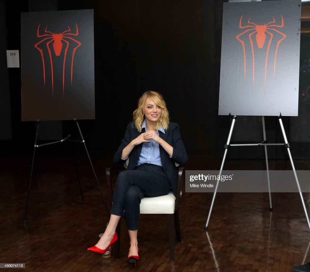 Actress <a gi-track='captionPersonalityLinkClicked' href=/galleries/search?phrase=Emma+Stone&family=editorial&specificpeople=672023 ng-click='$event.stopPropagation()'>Emma Stone</a> attends 'The Amazing Spiderman' fan event at Sony Pictures Studios on November 16, 2013 in Culver City, California.