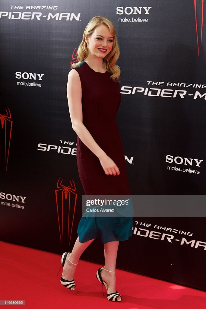 Actress <a gi-track='captionPersonalityLinkClicked' href=/galleries/search?phrase=Emma+Stone&family=editorial&specificpeople=672023 ng-click='$event.stopPropagation()'>Emma Stone</a> attends 'The Amazing Spider-Man' photocall at Villamagna Hotel on June 21, 2012 in Madrid, Spain.