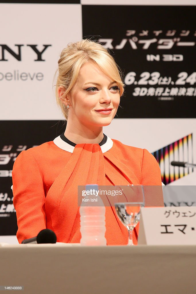 Actress Emma Stone attends 'The Amazing Spider-Man' press conference at Roppongi on June 13, 2012 in Tokyo, Japan. The film will open on June 30, 2012 in Japan.