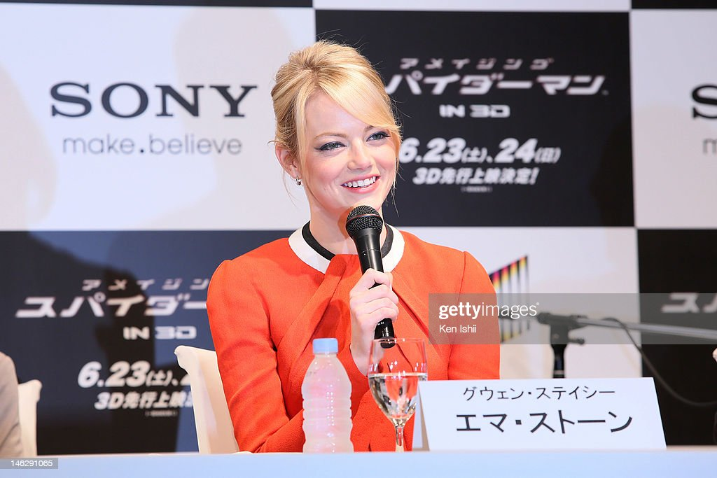Actress <a gi-track='captionPersonalityLinkClicked' href=/galleries/search?phrase=Emma+Stone&family=editorial&specificpeople=672023 ng-click='$event.stopPropagation()'>Emma Stone</a> attends 'The Amazing Spider-Man' press conference at Roppongi on June 13, 2012 in Tokyo, Japan. The film will open on June 30, 2012 in Japan.