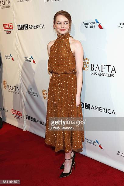 Actress Emma Stone attends The BAFTA Tea Party at Four Seasons Hotel Los Angeles at Beverly Hills on January 7 2017 in Los Angeles California