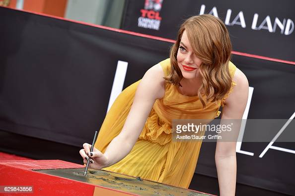 Actress Emma Stone attends the ceremony honoring her and Ryan Gosling with Hand and Footprint Ceremony on behalf of Lionsgate's La La Land at TCL...