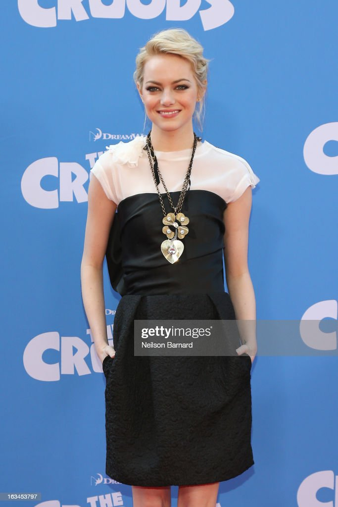 Actress <a gi-track='captionPersonalityLinkClicked' href=/galleries/search?phrase=Emma+Stone&family=editorial&specificpeople=672023 ng-click='$event.stopPropagation()'>Emma Stone</a> attends 'The Croods' premiere at AMC Loews Lincoln Square 13 theater on March 10, 2013 in New York City.