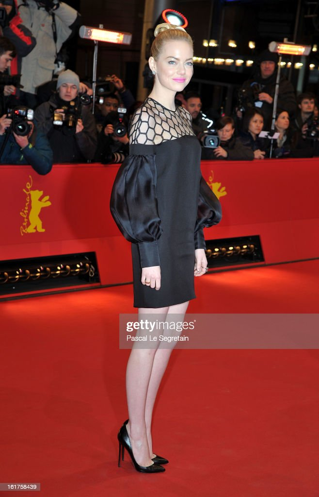 Actress <a gi-track='captionPersonalityLinkClicked' href=/galleries/search?phrase=Emma+Stone&family=editorial&specificpeople=672023 ng-click='$event.stopPropagation()'>Emma Stone</a> attends 'The Croods' Premiere during the 63rd Berlinale International Film Festival at Berlinale Palast on February 15, 2013 in Berlin, Germany.