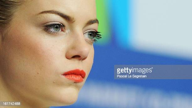 Actress Emma Stone attends 'The Croods' Press Conference during the 63rd Berlinale International Film Festival at the Grand Hyatt Hotel on February...