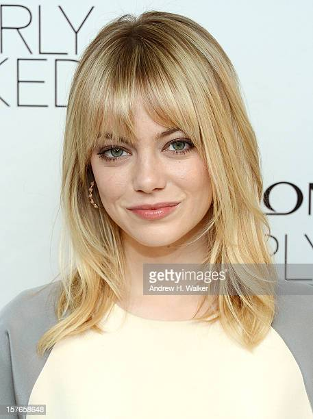 Actress Emma Stone attends the Emma Stone Revlon's NEW Nearly Naked Makeup Launch at The London Hotel on December 5 2012 in New York City