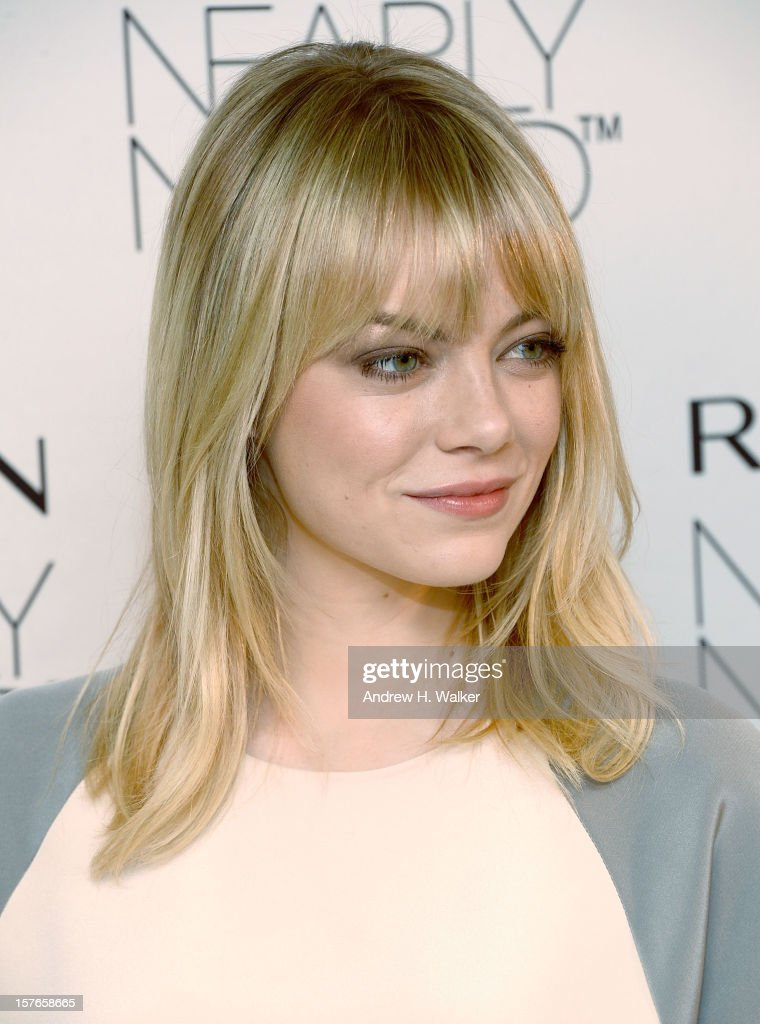 Actress <a gi-track='captionPersonalityLinkClicked' href=/galleries/search?phrase=Emma+Stone&family=editorial&specificpeople=672023 ng-click='$event.stopPropagation()'>Emma Stone</a> attends the <a gi-track='captionPersonalityLinkClicked' href=/galleries/search?phrase=Emma+Stone&family=editorial&specificpeople=672023 ng-click='$event.stopPropagation()'>Emma Stone</a> Revlon's NEW Nearly Naked Makeup Launch at The London Hotel on December 5, 2012 in New York City.