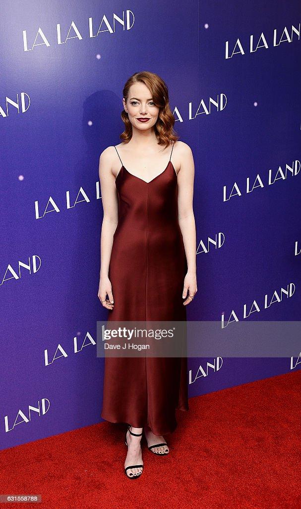 Actress Emma Stone attends the Gala screening of 'La La Land' at Ham Yard Hotel on January 12, 2017 in London, England.