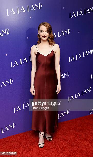 Actress Emma Stone attends the Gala screening of 'La La Land' at Ham Yard Hotel on January 12 2017 in London England