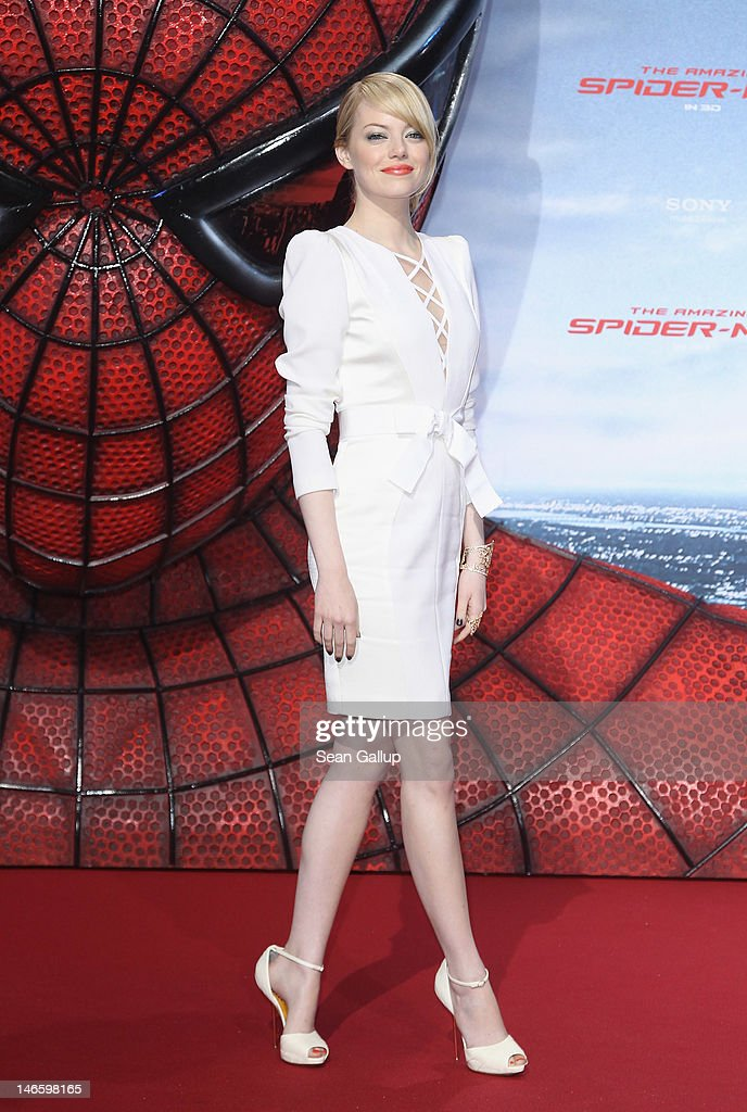 Actress <a gi-track='captionPersonalityLinkClicked' href=/galleries/search?phrase=Emma+Stone&family=editorial&specificpeople=672023 ng-click='$event.stopPropagation()'>Emma Stone</a> attends the Germany premiere of 'The Amazing Spider-Man' at Sony Center on June 20, 2012 in Berlin, Germany.