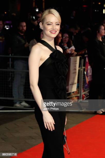 Actress Emma Stone attends the Headline Gala Screening UK Premiere of 'Killing of a Sacred Deer' during the 61st BFI London Film Festival on October...