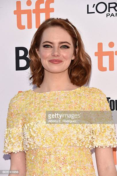 Actress Emma Stone attends the 'La La Land' Premiere during the 2016 Toronto International Film Festival at Princess of Wales Theatre on September 12...