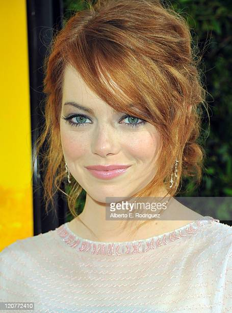 Actress Emma Stone attends the premiere of DreamWorks Pictures 'The Help' held at The Academy of Motion Picture Arts and Sciences Samuel Goldwyn...