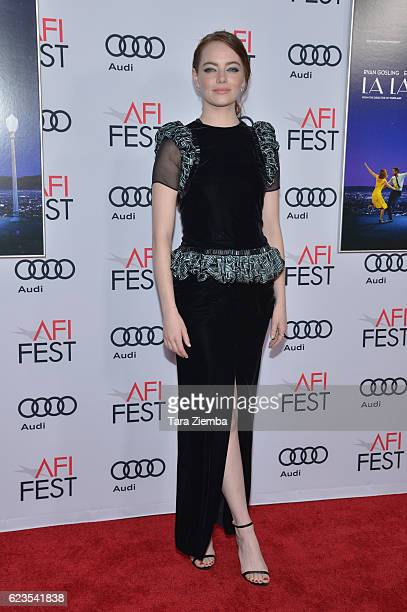 Actress Emma Stone attends the premiere of 'LA LA LAND' at AFI Fest 2016 presented by Audi at The Chinese Theatre on November 15 2016 in Hollywood...