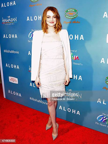 Actress Emma Stone attends the special screening of Columbia Pictures' 'ALOHA' at The London West Hollywood on May 27 2015 in West Hollywood...