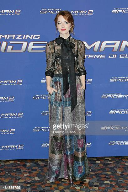 Actress Emma Stone attends the 'The Amazing SpiderMan 2 Rise Of Electro' premiere at The Space Moderno on April 14 2014 in Rome Italy