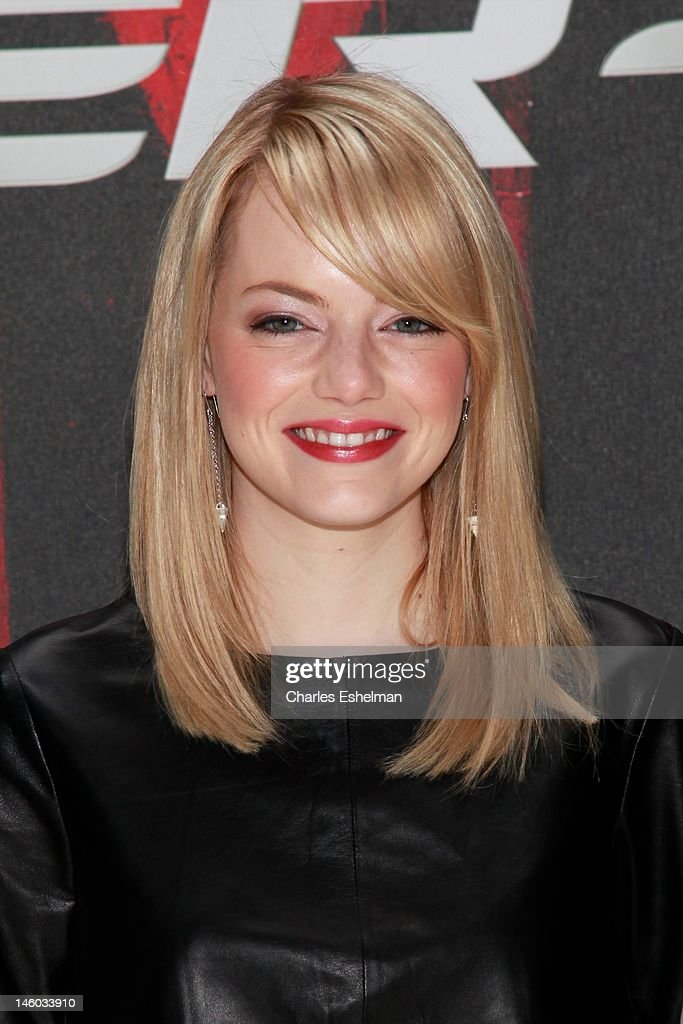 Actress <a gi-track='captionPersonalityLinkClicked' href=/galleries/search?phrase=Emma+Stone&family=editorial&specificpeople=672023 ng-click='$event.stopPropagation()'>Emma Stone</a> attends the 'The Amazing Spider-Man' New York City Photo Call at Crosby Street Hotel on June 9, 2012 in New York City.