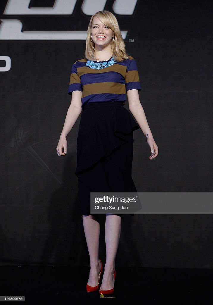 Actress <a gi-track='captionPersonalityLinkClicked' href=/galleries/search?phrase=Emma+Stone&family=editorial&specificpeople=672023 ng-click='$event.stopPropagation()'>Emma Stone</a> attends the 'The Amazing Spider-Man' Press Conference on June 14, 2012 in Seoul, South Korea. The film will open on June 28 in South Korea.