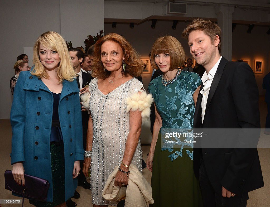 Actress Emma Stone, designer Diane Von Furstenberg, Vogue Editor -in-Chief Anna Wintour and Burberry CCO Christopher Bailey attend The Ninth Annual CFDA/Vogue Fashion Fund Awards at 548 West 22nd Street on November 13, 2012 in New York City.