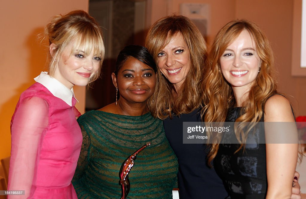 Actress <a gi-track='captionPersonalityLinkClicked' href=/galleries/search?phrase=Emma+Stone&family=editorial&specificpeople=672023 ng-click='$event.stopPropagation()'>Emma Stone</a>, honoree <a gi-track='captionPersonalityLinkClicked' href=/galleries/search?phrase=Octavia+Spencer&family=editorial&specificpeople=2538115 ng-click='$event.stopPropagation()'>Octavia Spencer</a>, actress <a gi-track='captionPersonalityLinkClicked' href=/galleries/search?phrase=Allison+Janney&family=editorial&specificpeople=206290 ng-click='$event.stopPropagation()'>Allison Janney</a>, and actress <a gi-track='captionPersonalityLinkClicked' href=/galleries/search?phrase=Ahna+O%27Reilly&family=editorial&specificpeople=696424 ng-click='$event.stopPropagation()'>Ahna O'Reilly</a> attend ELLE's 19th Annual Women In Hollywood Celebration at the Four Seasons Hotel on October 15, 2012 in Beverly Hills, California.