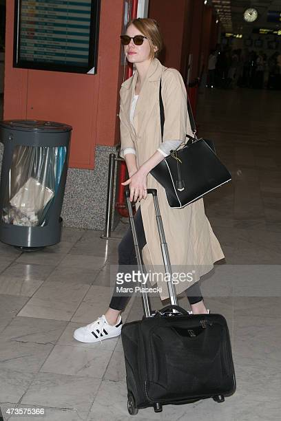 Actress Emma Stone is seen at Nice airport during the 68th annual Cannes Film Festival on May 16 2015 in Cannes France