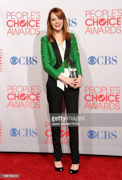 Actress Emma Stone poses with Favorite Movie Actress Award for 'The Help' 'Crazy Stupid Love' poses in the press room during the 2012 People's Choice...