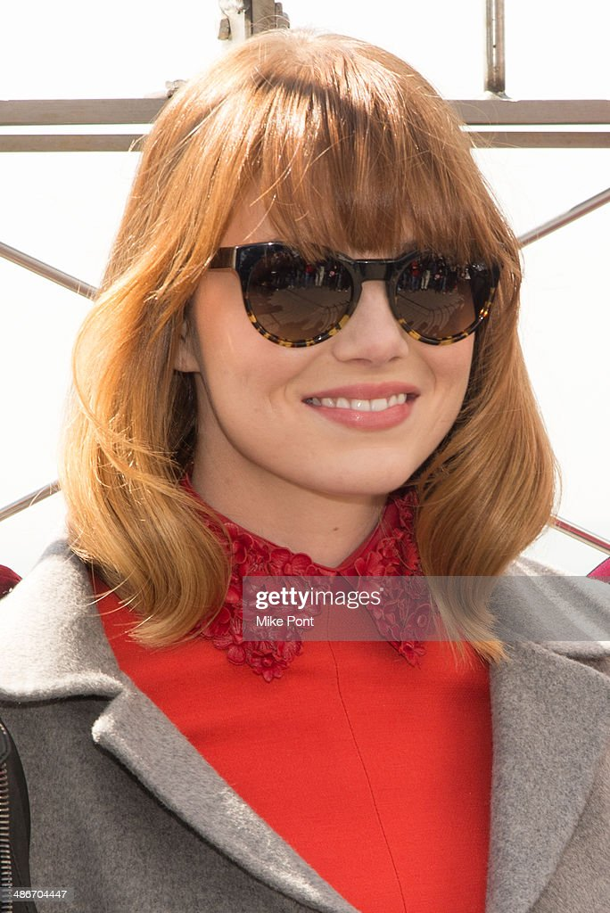 Actress Emma Stone visits The Empire State Building on April 25, 2014 in New York City.