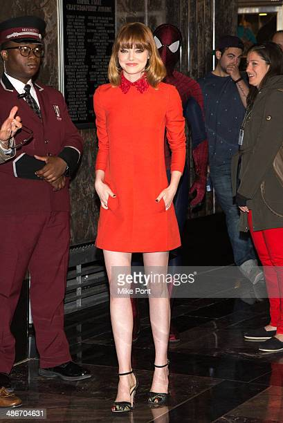 Actress Emma Stone visits The Empire State Building on April 25 2014 in New York City