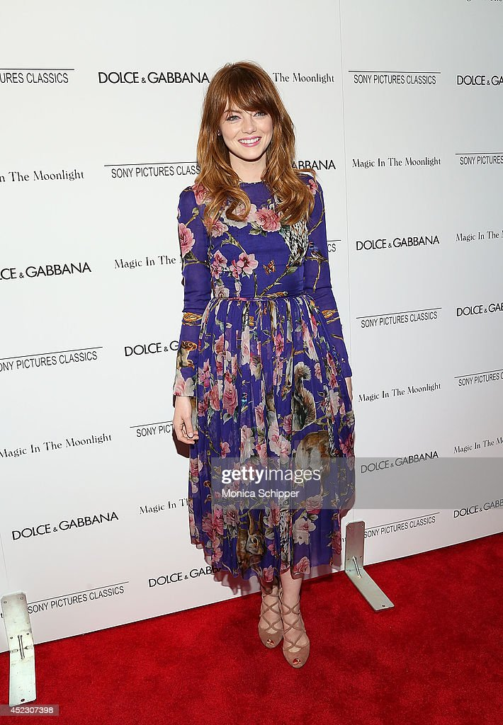 Actress <a gi-track='captionPersonalityLinkClicked' href=/galleries/search?phrase=Emma+Stone&family=editorial&specificpeople=672023 ng-click='$event.stopPropagation()'>Emma Stone</a>, wearing Dolce & Gabbana, attends 'Magic In The Moonlight' premiere at Paris Theater on July 17, 2014 in New York City.