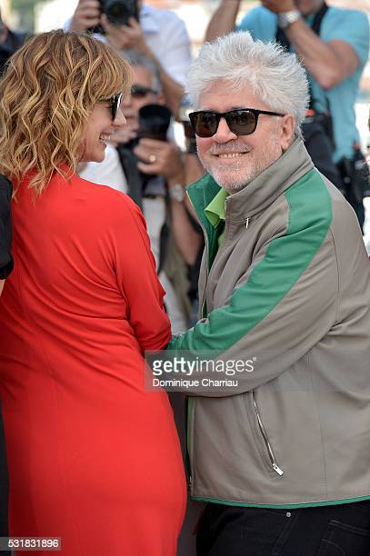 Actress Emma Suarez and director Pedro Almodovar attend the 'Julieta' photocall during the 69th annual Cannes Film Festival at the Palais des...