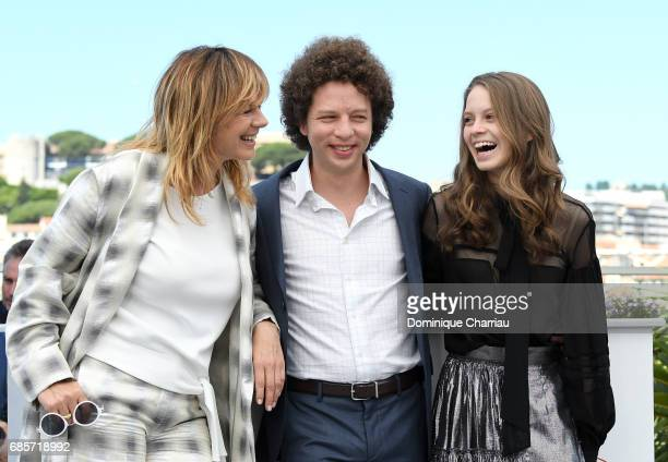 Actress Emma Suarez director Michel Franco and actress Ana Valeria Becerril attend the 'April's Daughter' photocall during the 70th annual Cannes...