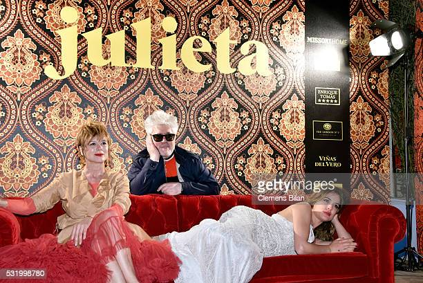 Actress Emma Suarez director Pedro Almodovar and actress Adriana Ugarte attend the 'Julieta' After Party during the 69th annual Cannes Film Festival...