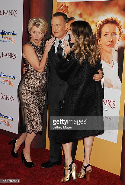 Actress Emma Thompson actor Tom Hanks and producer Rita Wilson arrive at the 'Saving Mr Banks' Los Angeles Premiere at Walt Disney Studios on...