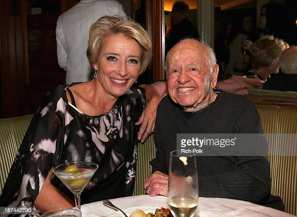 Actress Emma Thompson and actor Mickey Rooney attend a special performance and singalong with Richard Sherman and the cast of Disney's 'Saving Mr...