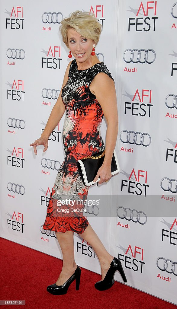 Actress <a gi-track='captionPersonalityLinkClicked' href=/galleries/search?phrase=Emma+Thompson&family=editorial&specificpeople=202848 ng-click='$event.stopPropagation()'>Emma Thompson</a> arrives at AFI FEST 2013 Opening Night Gala premiere of 'Saving Mr. Banks' at TCL Chinese Theatre on November 7, 2013 in Hollywood, California.