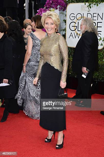 Actress Emma Thompson arrives at the 71st Annual Golden Globe Awards at The Beverly Hilton Hotel on January 12 2014 in Beverly Hills California