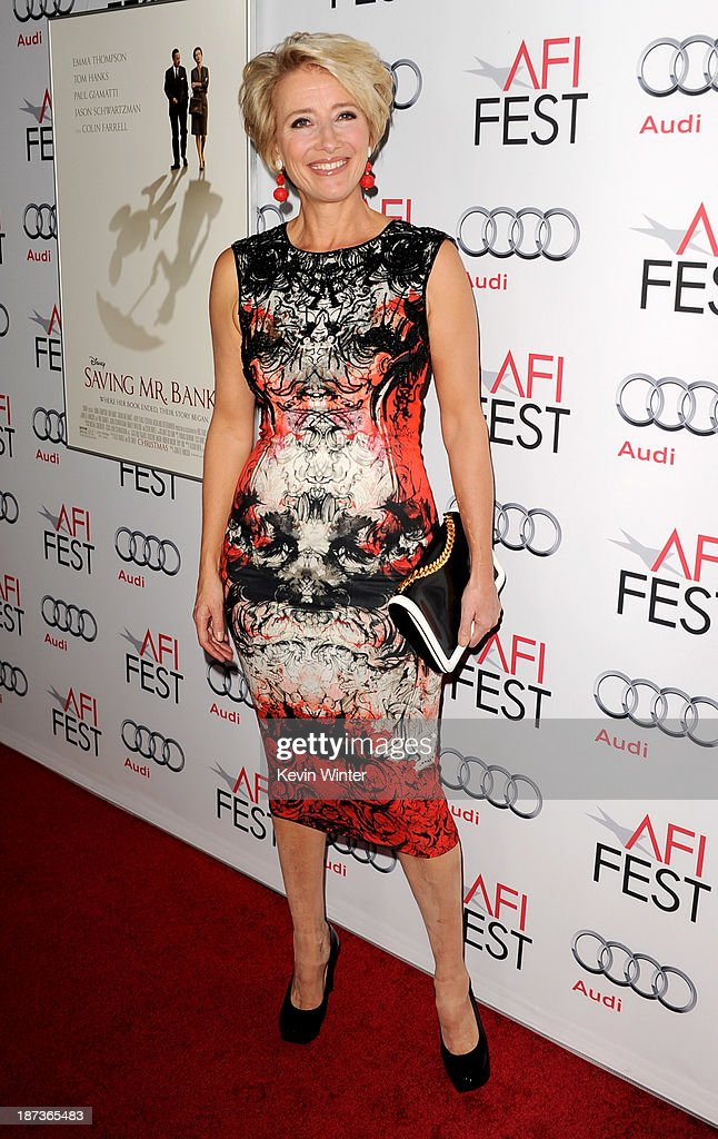 Actress Emma Thompson arrives at the premiere of Walt Disney Pictures' 'Saving Mr. Banks' during AFI FEST 2013 presented by Audi at the Chinese Theatre on November 7, 2013 in Hollywood, California.