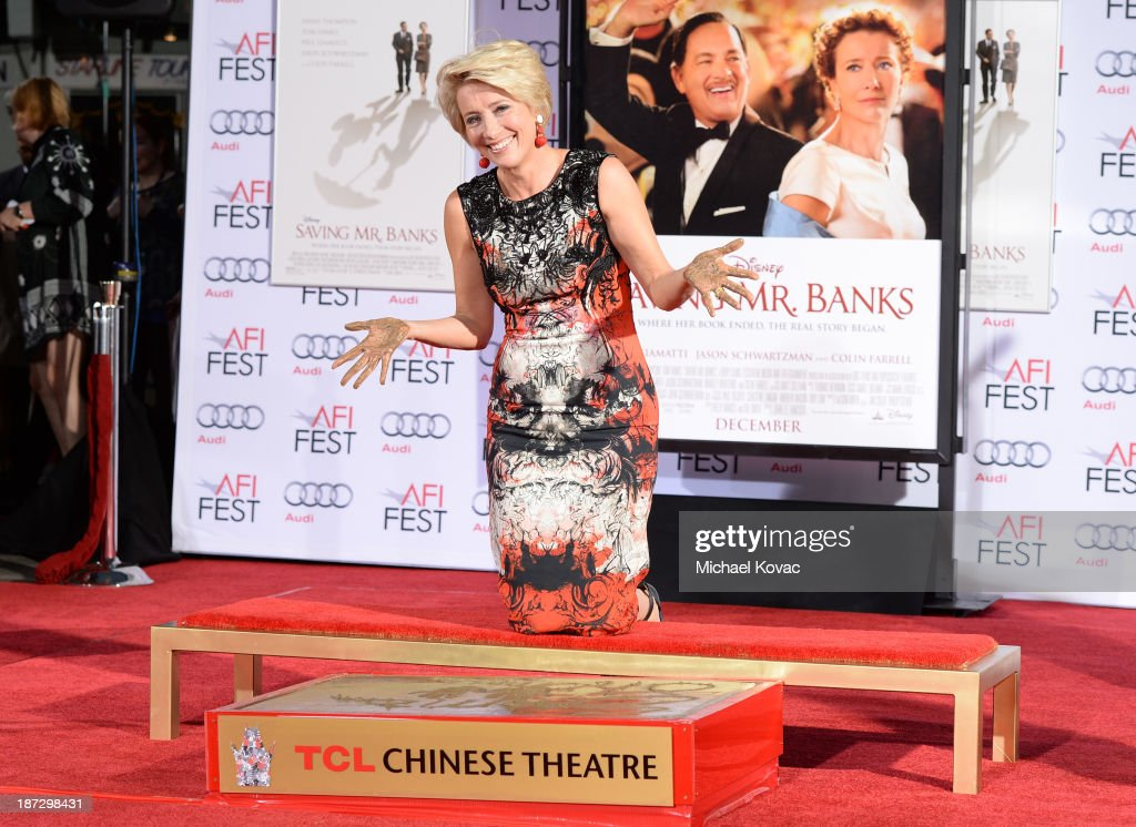 Actress <a gi-track='captionPersonalityLinkClicked' href=/galleries/search?phrase=Emma+Thompson&family=editorial&specificpeople=202848 ng-click='$event.stopPropagation()'>Emma Thompson</a> attends her Hand And Foot Print Ceremony during the 2013 AFI FEST at TCL Chinese Theatre on November 7, 2013 in Hollywood, California.