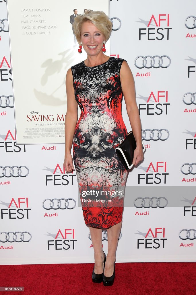 Actress <a gi-track='captionPersonalityLinkClicked' href=/galleries/search?phrase=Emma+Thompson&family=editorial&specificpeople=202848 ng-click='$event.stopPropagation()'>Emma Thompson</a> attends the AFI FEST 2013 presented by Audi premiere of Walt Disney Pictures' 'Saving Mr. Banks' at TCL Chinese Theatre on November 7, 2013 in Hollywood, California.