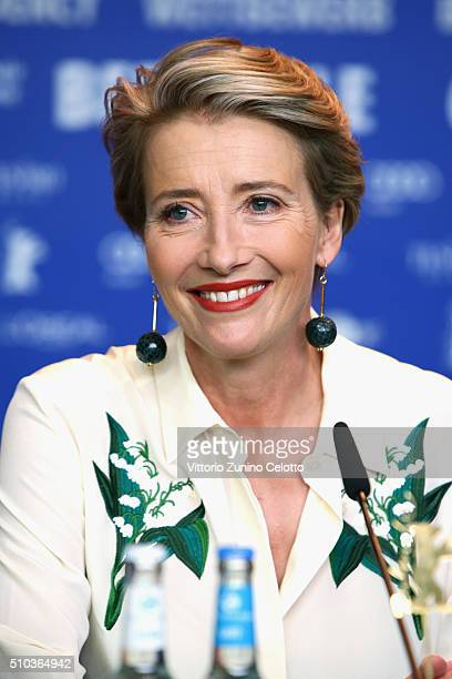 Actress Emma Thompson attends the 'Alone in Berlin' press conference during the 66th Berlinale International Film Festival Berlin at Grand Hyatt...