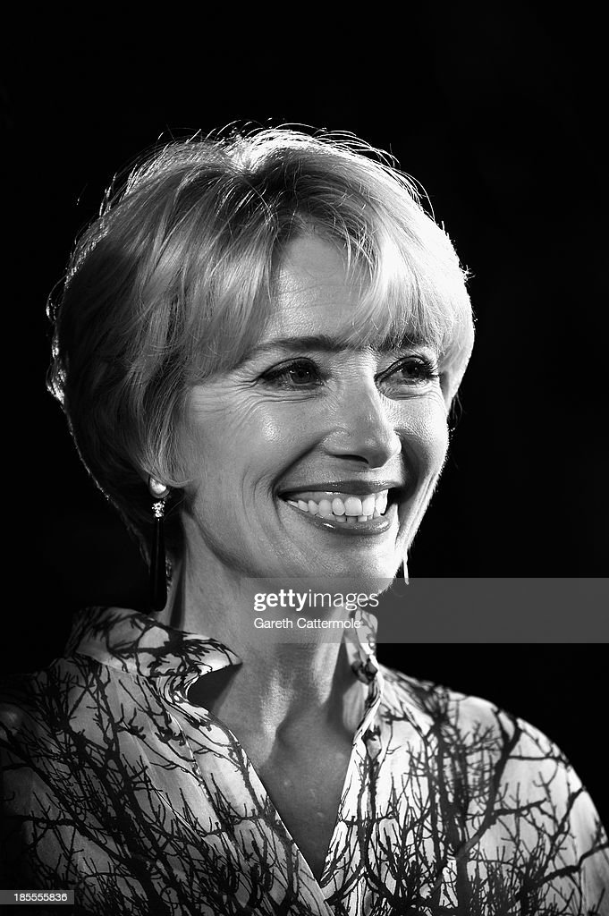 Actress <a gi-track='captionPersonalityLinkClicked' href=/galleries/search?phrase=Emma+Thompson&family=editorial&specificpeople=202848 ng-click='$event.stopPropagation()'>Emma Thompson</a> attends the Closing Night Gala European Premiere of 'Saving Mr Banks' during the 57th BFI London Film Festival at Odeon Leicester Square on October 20, 2013 in London, England.