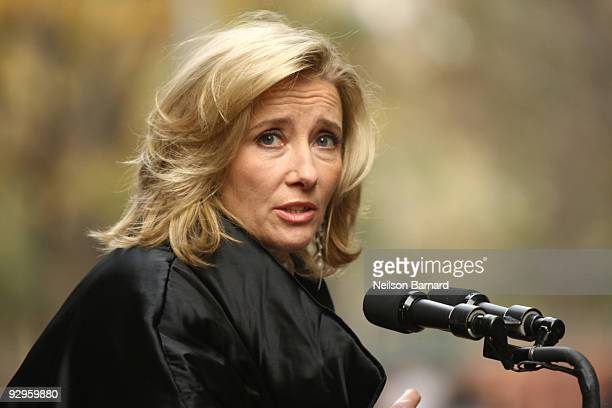 Actress Emma Thompson attends the 'Journey' exhibition opening at Washington Square Park on November 10 2009 in New York City